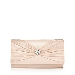 Debut - Beige bow detail jewel embellished clutch bag