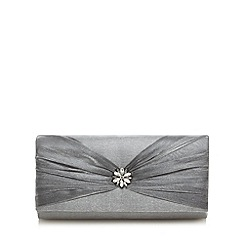 Debut - Silver bow detail jewel embellished clutch bag