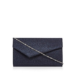 Debut - Navy textured glitter asymmetric clutch bag