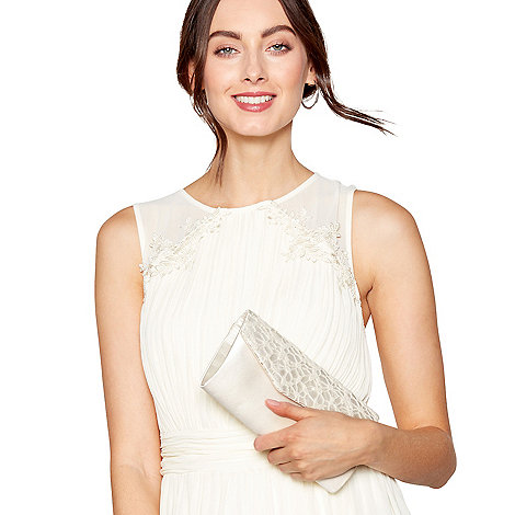 Debut Ivory Sequinned Lace Clutch Bag
