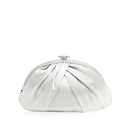 Debut - Silver flower diamante trim clutch bag