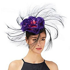 Top Hat by Stephen Jones - Black floral feather fascinator