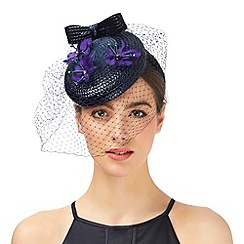 Top Hat by Stephen Jones - Purple floral applique veil fascinator