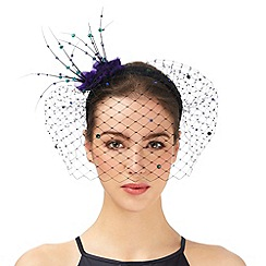 Top Hat by Stephen Jones - Black floral applique fascinator
