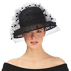 Top Hat by Stephen Jones - Black pom pom veil down brim hat