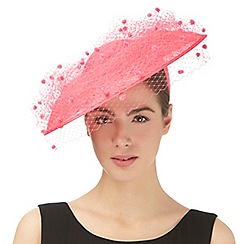 Top Hat by Stephen Jones - Pink pom pom veil saucer fascinator