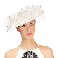 Top Hat by Stephen Jones - Ivory pom pom veil saucer fascinator