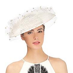 Top Hat by Stephen Jones - Ivory pom pom veil saucer fascinator
