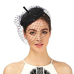 Top Hat by Stephen Jones - Black diamante veil fascinator
