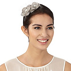 Debut - Metallic silver flower fascinator