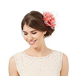 Debut - Dark peach flower feather hair clip