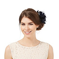 Debut - Navy flower feather hair clip