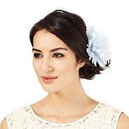 Light blue flower feather hair clip