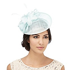 Debut - Aqua flower feather fascinator