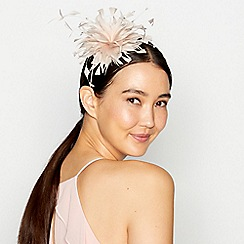 Debut - Light pink feather band fascinator
