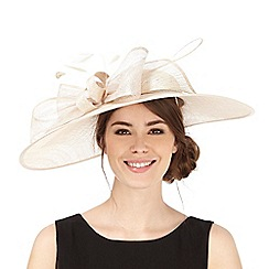 Hatbox - Gold bow down brim fascinator