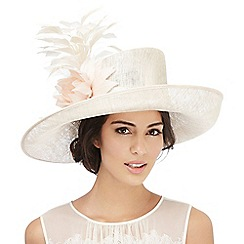 Hatbox - Beige sparkle feather hat