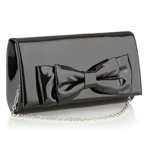 Debut - Black patent bow clutch bag