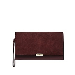 J by Jasper Conran - Dark red suede clutch bag