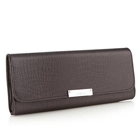 J by Jasper Conran - Designer dark grey satin mock-crocodile clutch bag