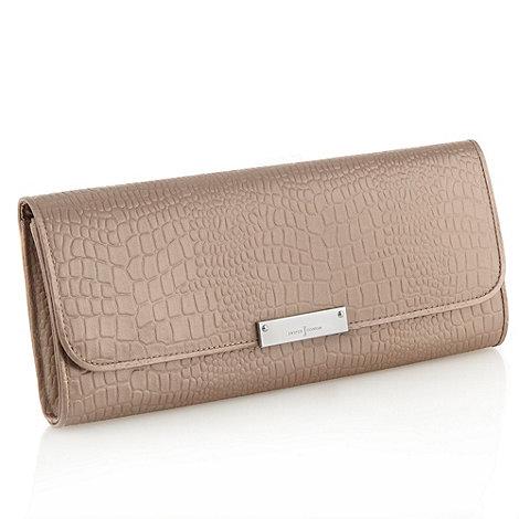 J by Jasper Conran - Designer light brown satin mock-crocodile clutch bag