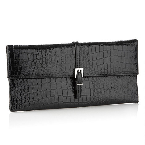 J by Jasper Conran - Designer black mock-crocodile clutch bag