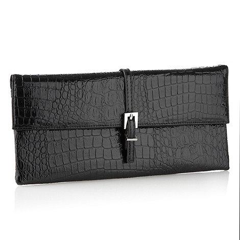 J by Jasper Conran - Designer black mock-crocodile clutch bag