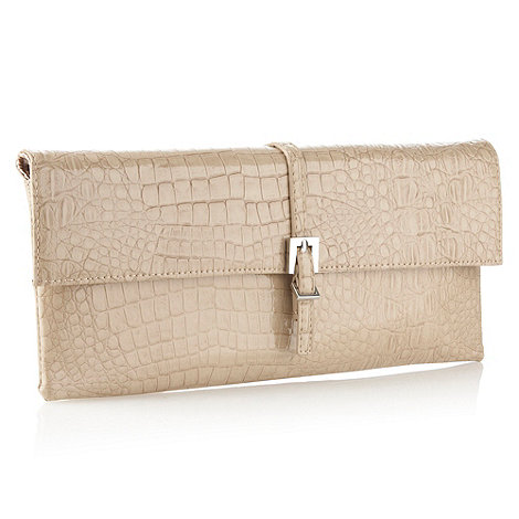 J by Jasper Conran - Designer cream mock-crocodile clutch bag