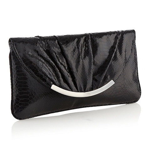 Star by Julien Macdonald - Designer black faux snakeskin envelope clutch bag