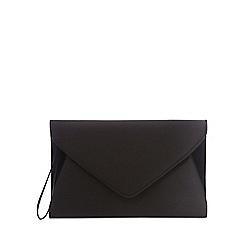 Debut - Black sateen envelope clutch bag