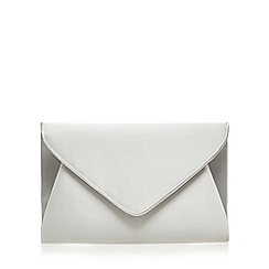 Debut - Silver sateen envelope clutch bag