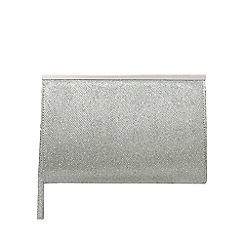 Debut - Silver glitter frame clutch bag