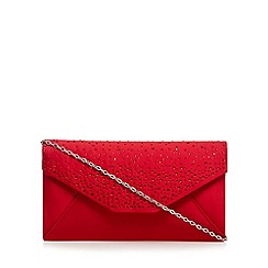 Debut - Red stone embellished clutch bag