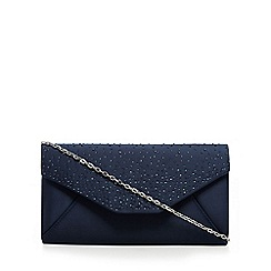 Debut - Navy stone embellished clutch bag