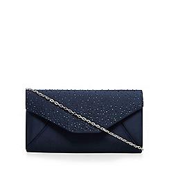Debut - Navy stone embellished clutch bag