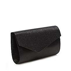 Debut - Black glitter asymmetric clutch bag