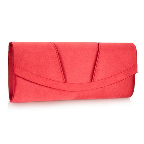 Debut - Red curved satin clutch bag
