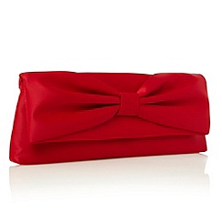 Debut - Red gathered bow clutch bag