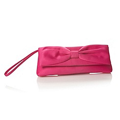 Debut - Bright pink pleated bow clutch bag