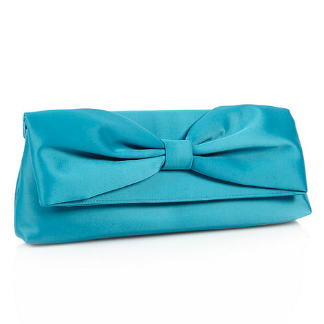 Debut - Dark turquoise pleated bow clutch bag