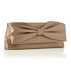 Debut - Mocha Gathered Bow Clutch Bag