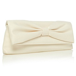 Debut - Cream gathered bow clutch bag