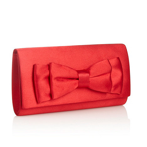 Debut - Red satin bow clutch bag