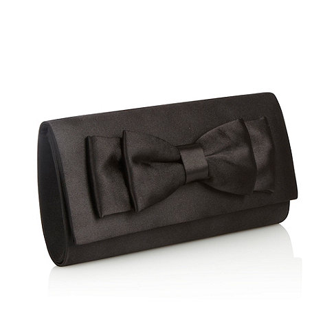 Debut - Black satin bow clutch bag