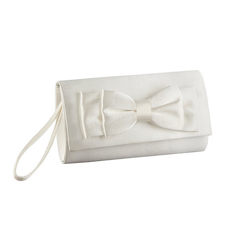 Debut - Ivory satin bow applique clutch bag