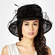 Black Organza Flower Corsage Hat