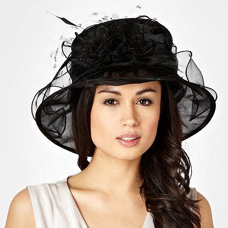 Hatbox - Black organza flower corsage hat