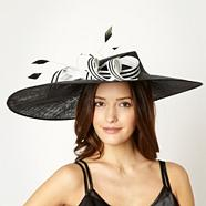 Designer Black Striped Bow Fascinator