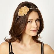 Designer Gold Beaded Flower Headband