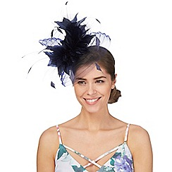Principles by Ben de Lisi - Navy large feather fascinator